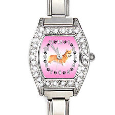 Cardigan Welsh Corgi CZ Ladies Stainless Steel Italian Charm Wrist Watch BJ1154