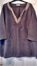 BROWN LINEN EMBELLISHED LOOSE TOP SIZE XL 48/50