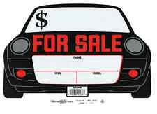 """AUTO SHAPED FOR SALE SIGNS, 8"""" x 12"""", Plastic, White w/Black & Red (Pkg of 2)"""