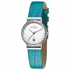Skagen Ladies WATCH 355SSLI8A1 Crystal Accent Markers TURQUOISE Leather Strap