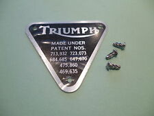 TRIUMPH TIMING COVER PATENT PLATE BADGE 500 650 TWINS 70-4016 & RIVETS UK MADE