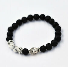 7MM Beads Lava Rock and White HOWLITE Stone Silver Buddha Head Man's Bracelet