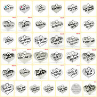 Pack of 4  WEDDING & BABY charms 16mm x 14mm Antique Silver 30+ Varieties