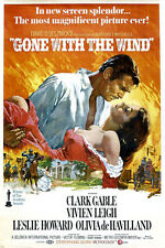 VINTAGE GONE with the WIND movie poster clark GABLE vivian LEIGH 24X36 NEW - SW0