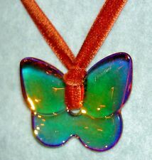 BACCARAT Crystal Iridescent Brown Amber Butterfly Papillon Pendant Necklace +Box