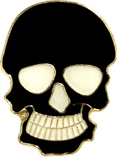47027 Black Skull ENAMEL PIN Skeleton Halloween Creepy Spooky Badge Button Lapel