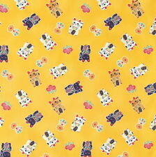 [Precut]  48x55cm Maneki Neko Lucky Cat Mustard Japanese Cotton Fabric  - PC612