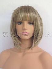 NEW LADIES WOMENS LIGHT BROWN/BLONDE MIX SHORT BOB STYLE FULL WIG UK SELLER