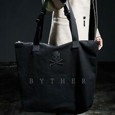 ByTheR High Utility Black Avant Garde Chic Casual Skull Embroidered Tote Bag UK