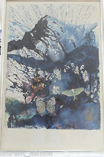 DALI LES ALPES THE ALPS HAND SIGNED LITHOGRAPH SNCF FRENCH RAILROAD BUTTERFLY