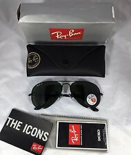 RAY BAN AVIATOR 3025 BLACK FRAME NATURAL GREEN POLARIZED RB 3025 002/58 58mm