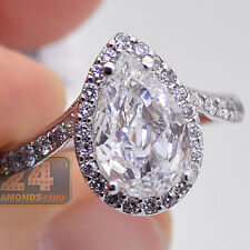 14K White Gold 2.96 ct Pear Cut Diamond Womens Engagement Halo Ring