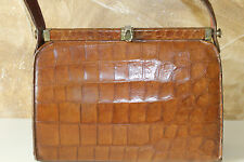 Vintage 1950s brown genuine crocodile alligator peau en cuir doublé de sac à main