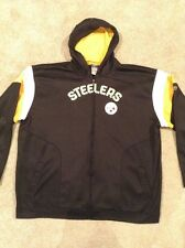 Men's Pittsburgh Steelers Reebok NFL Full Zip Front Hoodie 4XL Black