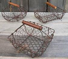 Set 3 Rustic Vtg Style Mini Chicken Wire Egg Gathering Baskets-Country Primitive