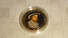 2009 COOK ISLANDS $1 GOLD PLATED COIN. HISTORY OF THE ROYAL FAMILY. HENRY VIII