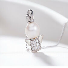 Elegant Womens Pearl Baby Angel Crystal Pendant Necklace Costume Jewelry Gift
