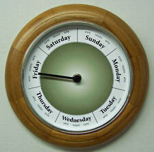 """DAY OF THE WEEK CLOCK #D881-Oak Solid Wood frame 9"""" with silver bezel"""