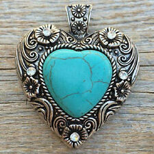 "Western Cowgirl Antique Silver Faux Turquoise Heart Pendant 2 1/2"" X 2 1/2"""