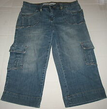 MOSSIMO - BLUE STRETCH DENIM CARGO CAPRI JEANS- JUNIOR SIZE 7
