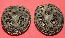 Pair Vintage Antique Victorian Woman Lady Women's Shoe Buckles Clip RARE