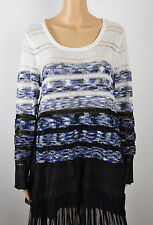 Alfani Womens Blue Black Chifon-Hem Sequin Knit Pullover Sweater Top L