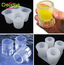 Silicone 4-Cup Ice Cube Shot Glass Freeze Mold Maker Tray Bar Drink
