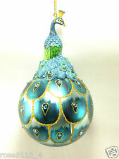 """Beautiful 6"""" Peacock on Ball Ornament Blues /Teals New"""