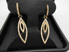 Gorgeous Design 14k Solid Yellow Gold Diamond Hanging Hoop Dangle Earrings