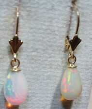 VINTAGE GORGEOUS 14K GOLD FIERY ETHIOPIAN OPAL DROP LEVER BACK EARRINGS  DD