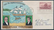 "#1063-35 ""LEWIS & CLARK EXPEDITION"" ON FDC HAND PAINTED WRIGHT CACHET BT861"