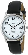 Timex T2H281, Men's Easy Reader Black Leather Watch, Indiglo, Date, T2H2819J