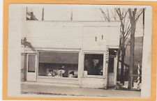 Real Photo Postcard RPPC - Millinery Hat Shop and Barber Shop