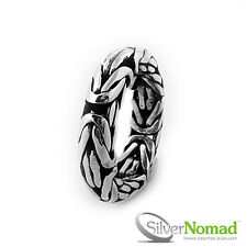NEW 925 Sterling Mens Gents Solid Silver Nomad Chunky Byzantine Ring Band Size W