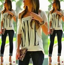Sexy Womens Short Sleeve Loose White T Shirt Summer Casual Lover Top Blouse