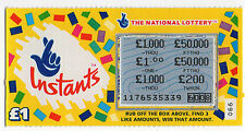 Original Vintage UK National Lottery Scratch Card Camelot Instants Yellow 1995