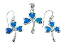 Sterling Silver Hawaiian Blue Opal Celtic Clover Shamrock Pendant Earrings Set