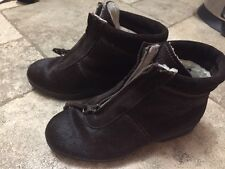 Tecnica Ottawa Bovina Pelo Raso DarkBrown Fur Boots Sz 39 Made in Italy