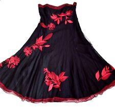 Coast, UK SZ 8, Black & Red Tulle Pizzo Netto, logo ricamato Foderato Vestito.
