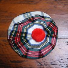 Vtg Scottish Tartan Plaid Wool Tam O'Shanter Beret Newsie Scotch House Cap Hat S