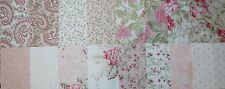 "MODA FAVORITES 3 Sisters PARIS FLEA & SEASIDE ROSE Pink & White 5"" Charm Squares"