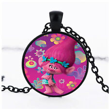 Photo Cabochon Glass Black chain Fashion Necklace Pendant(pink flower Poppy