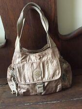 KIPLING Tote Bag Gold /Tan Nylon Tote Purse