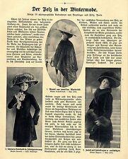 Pelz in der Wintermode französische Mode Kaiserzeit Zobel Marder Hermelin...1908