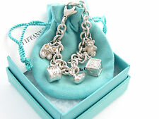 Tiffany & Co RARE Silver Baby Duck Shoes Box Bear Cup Charm Bracelet Bangle!