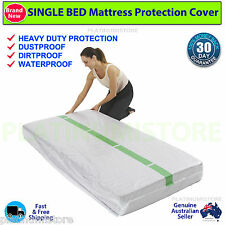 3 Single Size Bed Mattress Protector Plastic Dust Covers Moving and Storage Bag