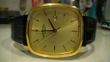 Rotary GS02402/03 Gents Gold PVD Stainless Steel Watch with Black Leather Strap