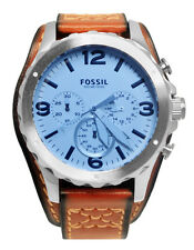 Fossil JR1515 Nate Chronograph Date Silver Blue Crystal Brown Leather Watch New