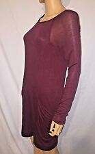 BCBG MAX AZRIA Women's PURPLE Long Sleeve Sweater Pocket Short Dress Size LARGE