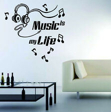 New Headset Music Is My Life Quote Art Wall Sticker Decals Mural Home Room Decor